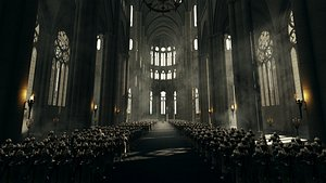 3D C4D octane renderMiddle Ages Game of Thrones Church castle knight