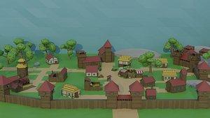 3D cartoon medieval city buildings model