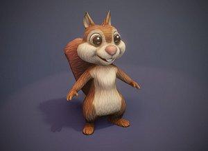 3D Cartoon Squirrel 3D Model