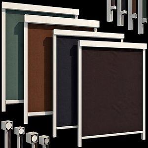 Roller blinds set for windows and doors 3D model