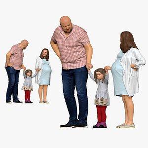 001138 family big skinhead man girl pregnant woman 3D model