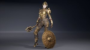 3D Femail Knight in bronze armour