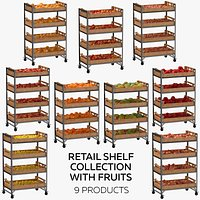 Retail Shelf 02 01 Collection with Fruits  9 Products