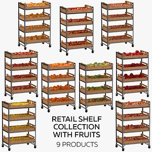 3D Retail Shelf 02 01 Collection with Fruits  9 Products model