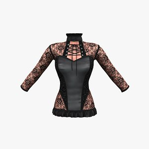 Goth Style Lace See Through Corset Top With Under-body Effect 3D model
