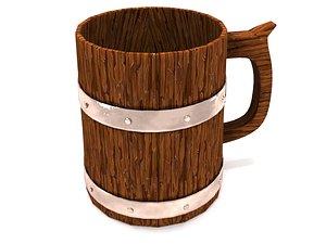 3D Wooden mug model