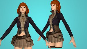 warrior girl war 3D model