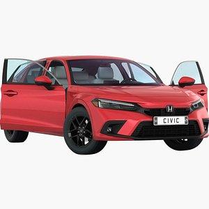 Honda Civic Sedan 2022 Opening doors and trunk 3D model