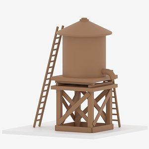 3D Farm Wooden Water Tower