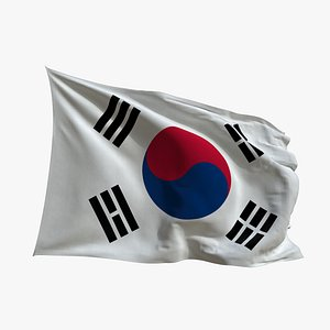 Realistic Animated Flag - Microtexture Rigged - Put your own texture - Def South Korea 3D model