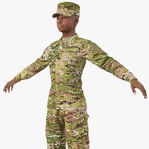 black female soldier camo 3D model