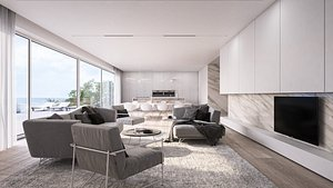 Luxury living room interior with kitchen 3D model