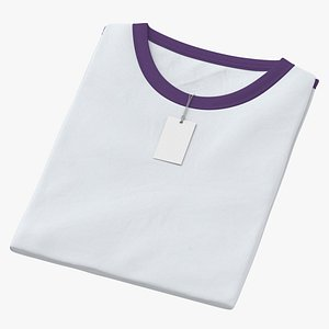 Female Crew Neck Folded With Tag White and Purple 01 3D model