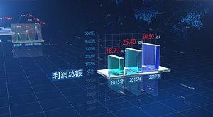 Technical Data Bar Chart C4D Growth Chart 3D Text Growth Glass Elements 3D