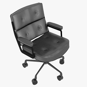 3D Eames Executive Chair Black Frame Black Leather model