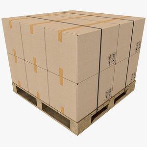 3D Pallet With Boxes 2 4K 8K