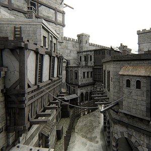 3D old Fortress citadel castle model