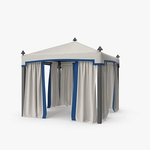 3D model Outdoor Pergola with White and Blue Curtains