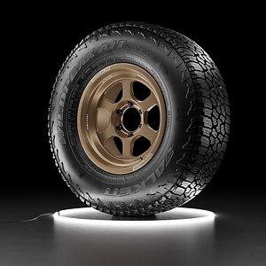 Offroad car wheel Falken Wildpeak AT3W tire with TE37XT rim 3D model