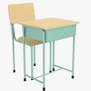 3D school desk chair