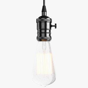 Vintage Retro Light Bulb 2 Black model