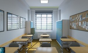 Low-Poly Classroom Interior Design Collection 02 3D model