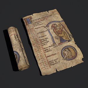 January Manuscript Scroll and Page model