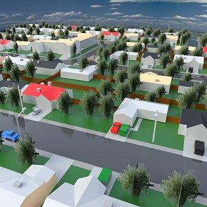 city suburb 3D model