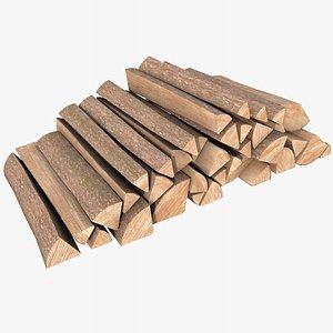 Wood Logs Pile  with PBR 4K 8K 3D model
