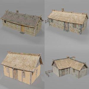 3D medieval village set model