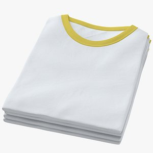 Female Crew Neck Folded Stacked White and Yellow 01 3D model
