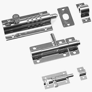 3D model Chrome Sliding Door Locks Set