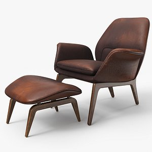 Lounge Chair Oak Brown Worn - PBR 3D