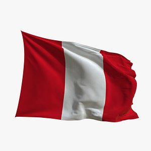 3D Realistic Animated Flag - Microtexture Rigged - Put your own texture - Def Peru