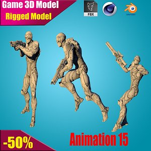 3D sci-fi soldier sniper model