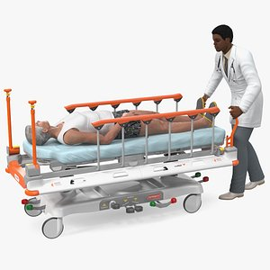 3D Linet Sprint 100 Transport Bed with Doctor and Patient Rigged