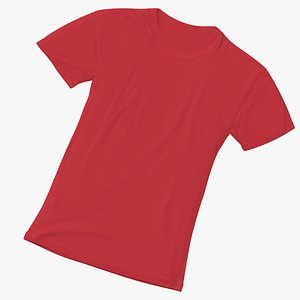 Female Crew Neck Laying Red 3D model