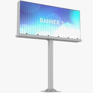 3D Billboard Three Rotating Banners model