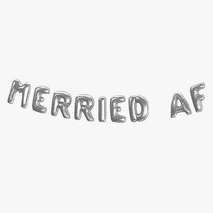 Foil Baloon Words Merried AF Silver 3D model