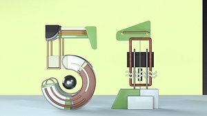 Labor Day Holiday Number May 1 Holiday Fonts Mechanical Number 51  Pipe Number 51 Technological Numb 3D model