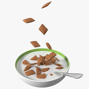 Chocolate Cereal Pillows in Bowl with Milk model