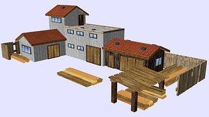 industrial building - sawmill 3D