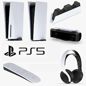 PlayStation 5 With Accessories 3D model