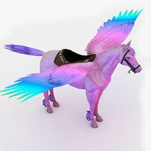 3D Rainbow Pegasus Rigged