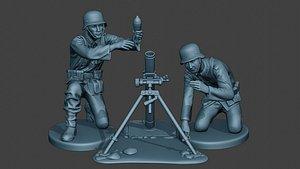 german soldiers ww2 granatwerfer 3D model