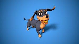 3D cartoon dachshund