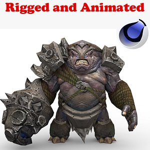 3D Basalt Golem Rigged and Animated model