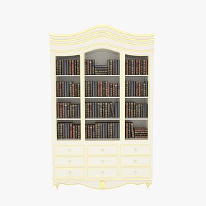 3D Bookcase Large White