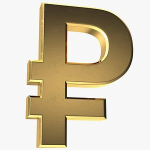 russian rouble currency symbol 3D model