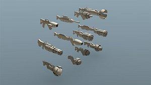 low-poly sci fi weapon model